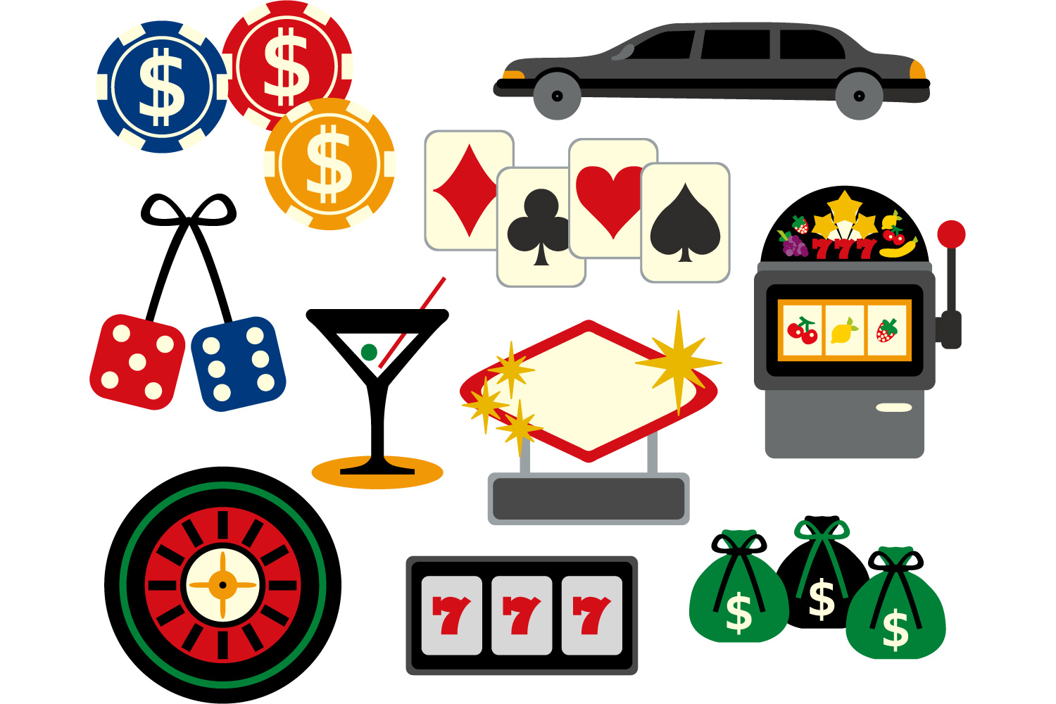Las vegas clipart. Viva graphic casino design