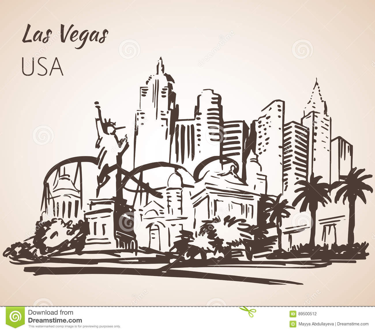Las vegas clipart sketch. Sign drawing and