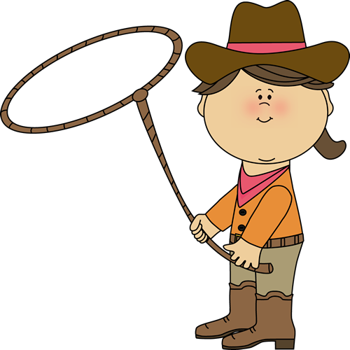 Cowgirl with a clip. Lasso clipart