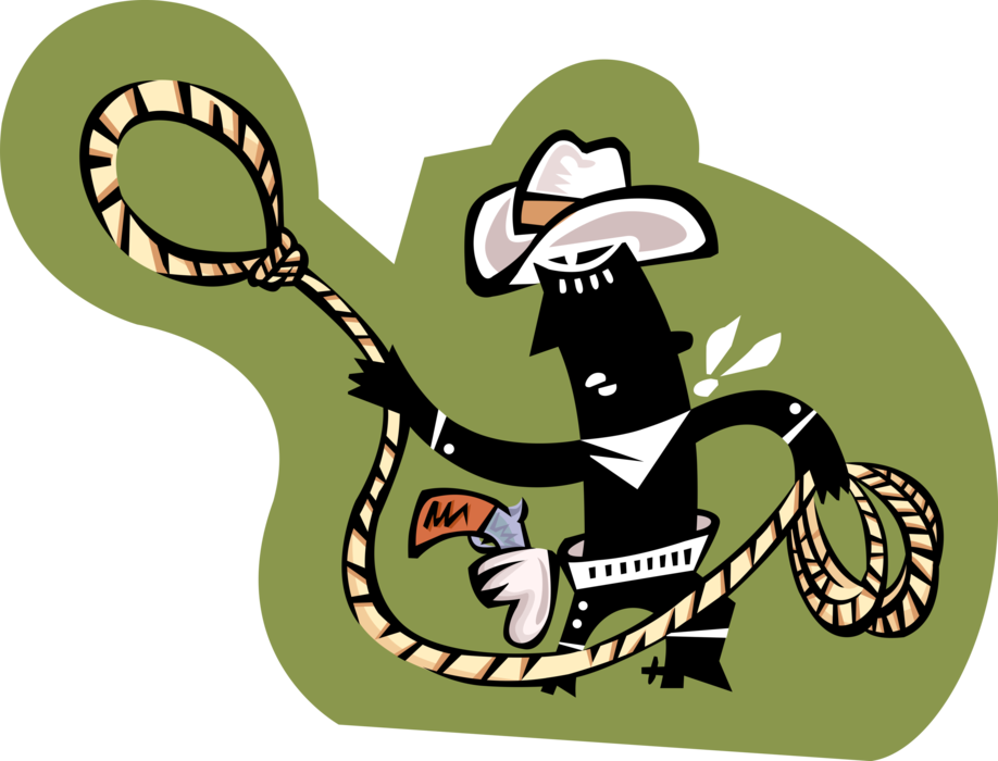 Lasso clipart lariat. Rodeo cowboy with vector