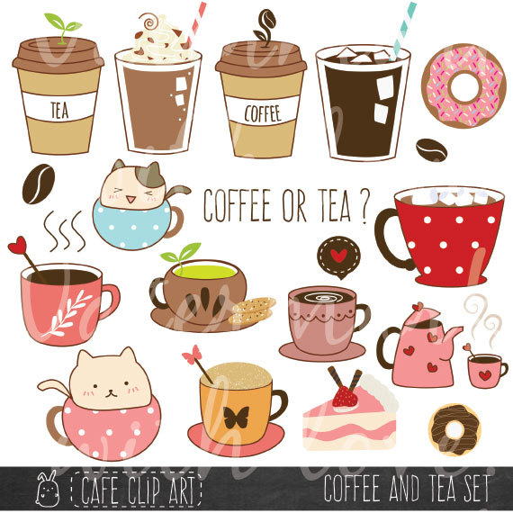 Coffee and tea donut. Latte clipart