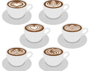 Etsy art cups clip. Latte clipart