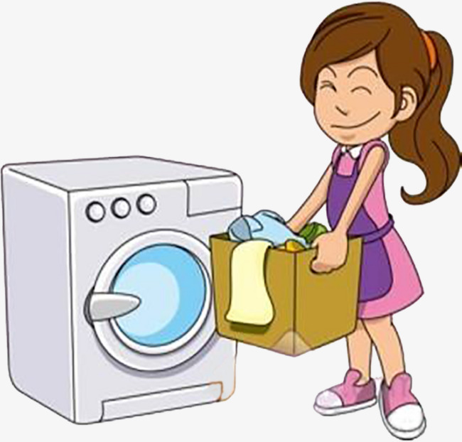 Mother washed the clothes. Laundry clipart