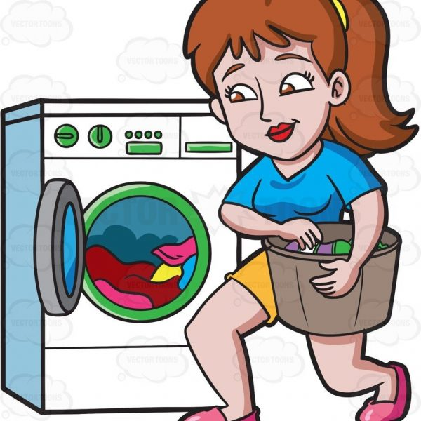 Laundry clipart. A woman placing clothes