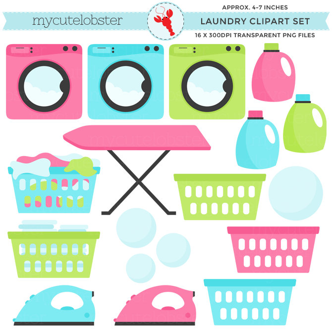 Set clip art of. Laundry clipart