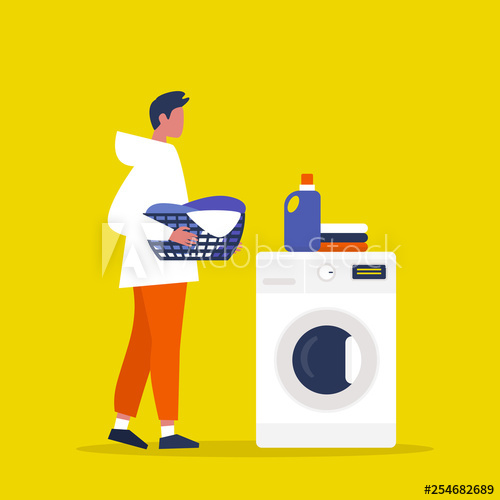 Young male character holding. Laundry clipart daily chore