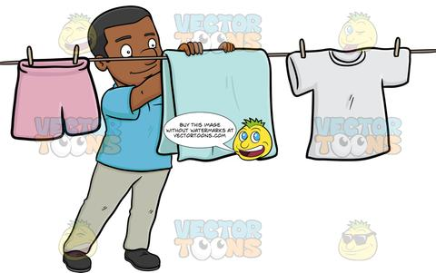 Woman drying clothes. Clipart | k55600194 | Fotosearch