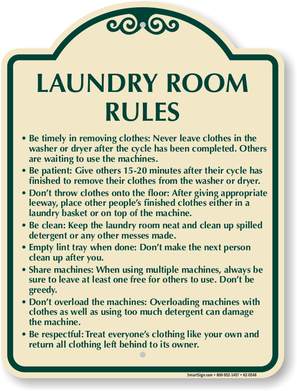 Laundry clipart laundry mat. Laundromat rules sign awesome