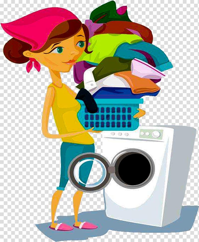 Laundry clipart laundry service. Woman doing washing machine