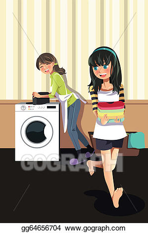 Vector illustration daughter doing. Mother clipart laundry