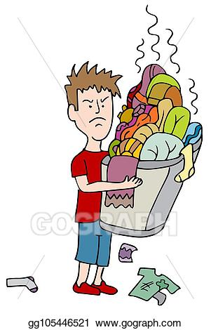 Laundry clipart soiled clothes. Vector art angry child