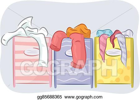 Vector illustration hamper sorter. Laundry clipart sort laundry