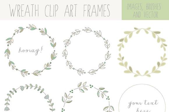 Laurel clipart. Handdrawn wreath clip art
