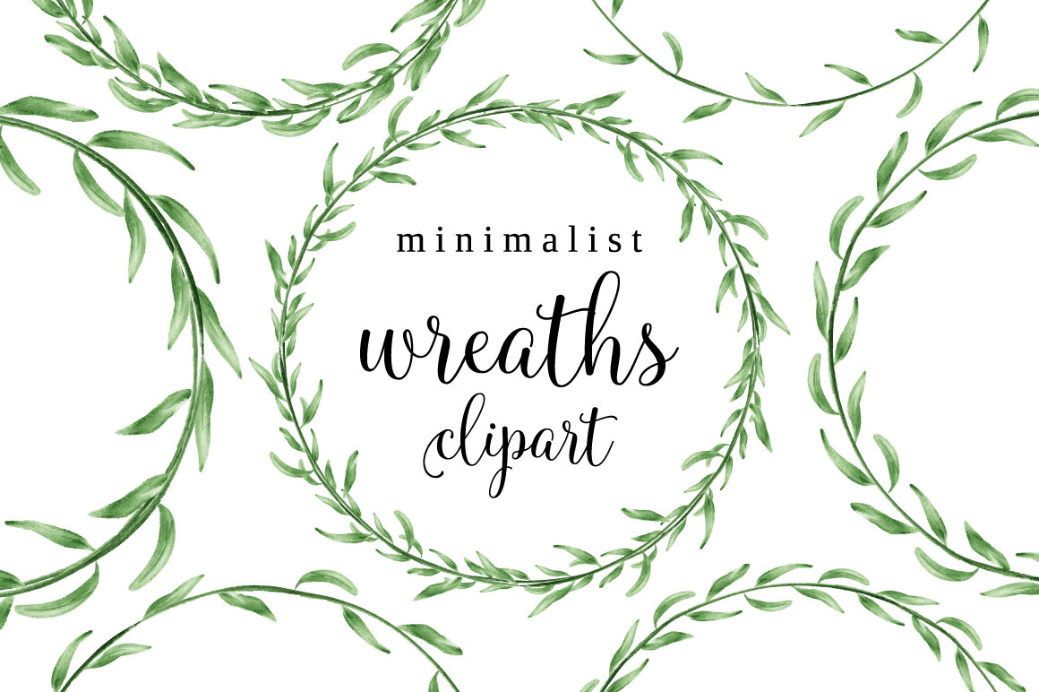 Brush clipart minimalist. Watercolor wreath laurel frame