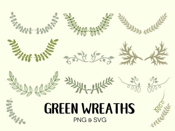 Green laurels hand drawn. Laurel clipart doodle