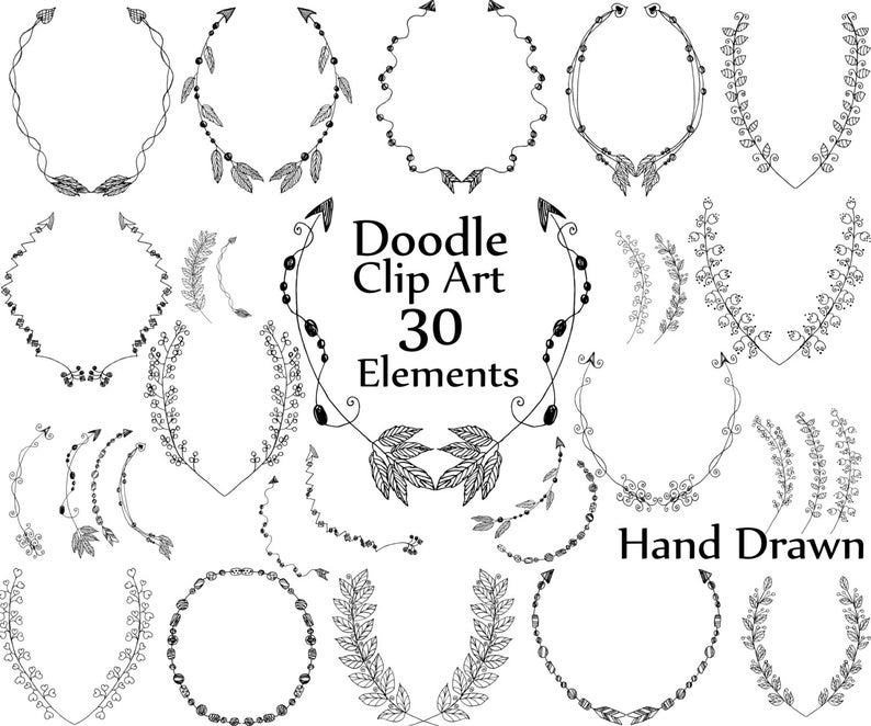 Laurel clipart doodle. Laurels wedding wreaths hand