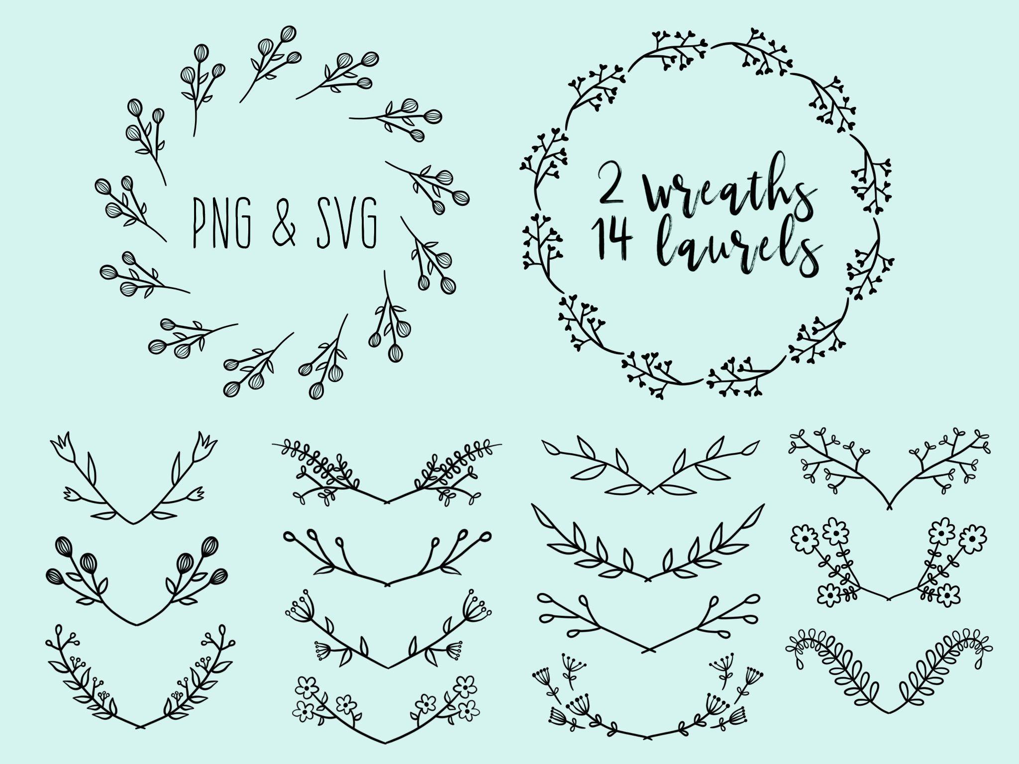 Floral wreaths and laurels. Laurel clipart doodle