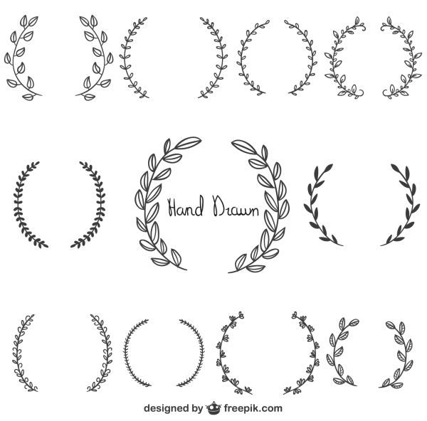 Graphics drawn wreaths merci. Laurel clipart free hand drawing