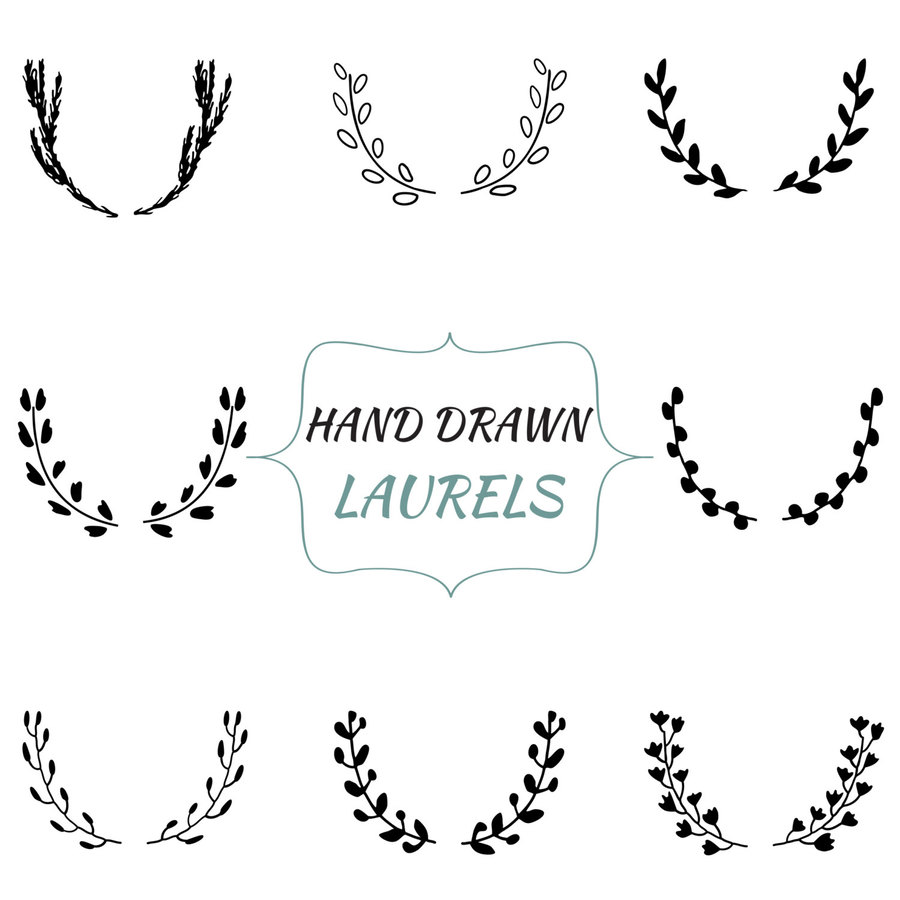 Download drawn wreath . Laurel clipart free hand drawing