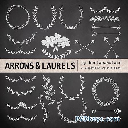 Laurel clipart free hand drawing. Drawn laurels and arrow