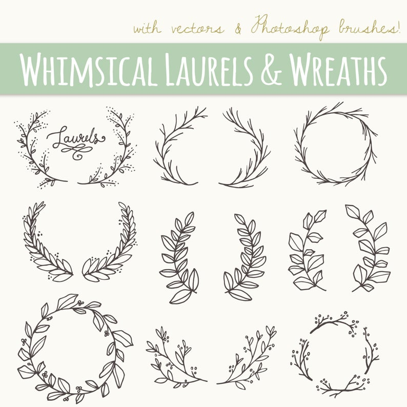 Laurel clipart free hand drawing. Whimsical laurels wreaths clip