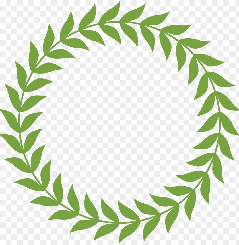 Laurel clipart garland. Round the wreath green