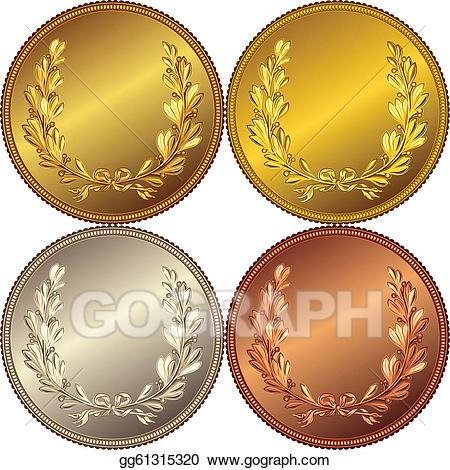 Laurel clipart gold silver bronze. Vector set of the