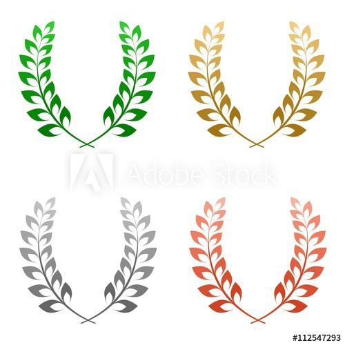 Set of four colored. Laurel clipart gold silver bronze