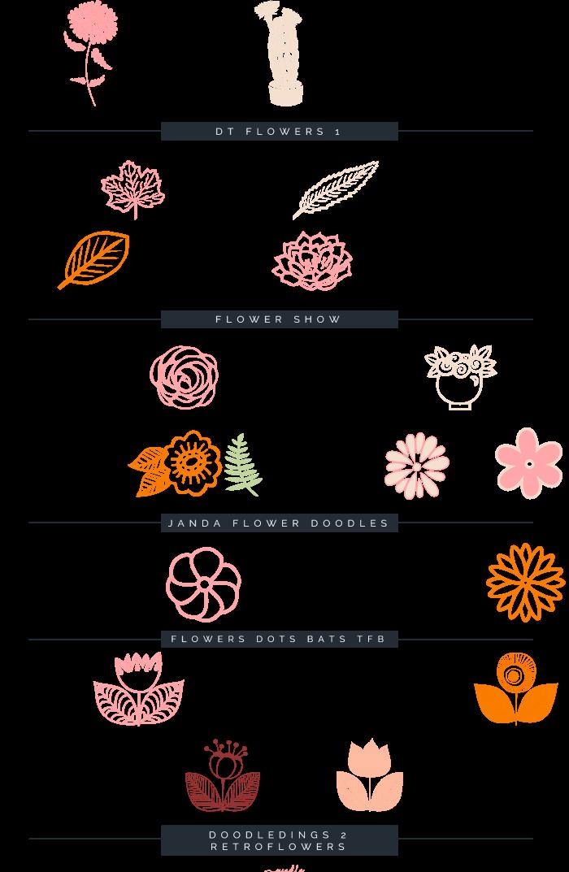 Dingbats de flores creative. Market clipart doodle
