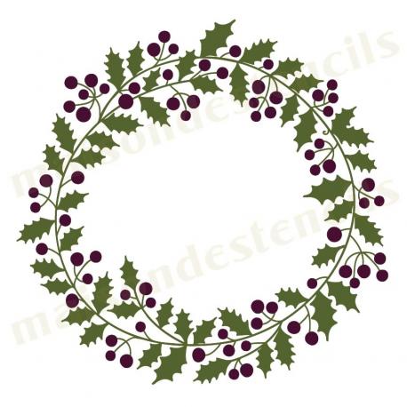 Berry wreath x stencil. Laurel clipart holly