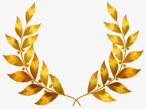 Golden leaves png gold. Laurel clipart pretty leaf