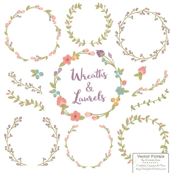 Floral wreaths laurels in. Laurel clipart vintage