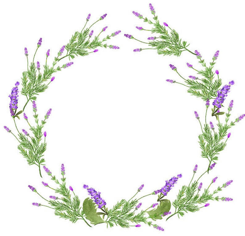 Digital purple . Lavender clipart decorative wreath