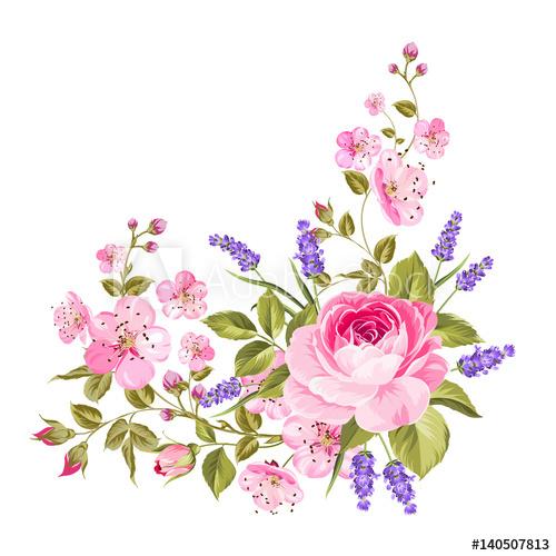 Blooming spring flowers garland. Lavender clipart lavender rose