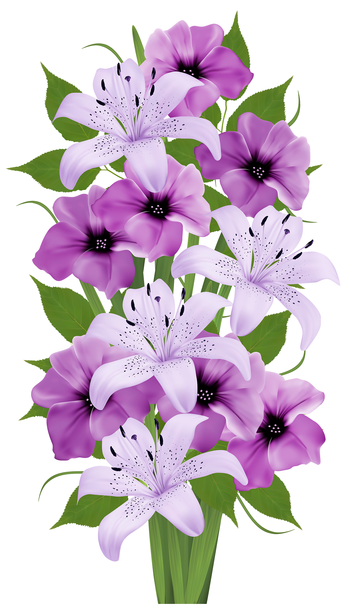 Purple lilies bouquet clip. Lavender clipart magnolia