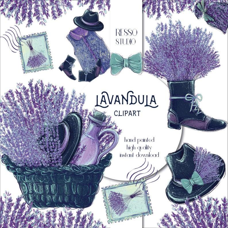 Lavender clipart vintage. Retro lavandula scrapbook sticker