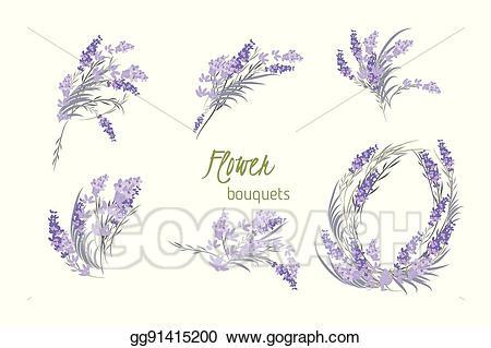 Eps illustration floral retro. Lavender clipart vintage