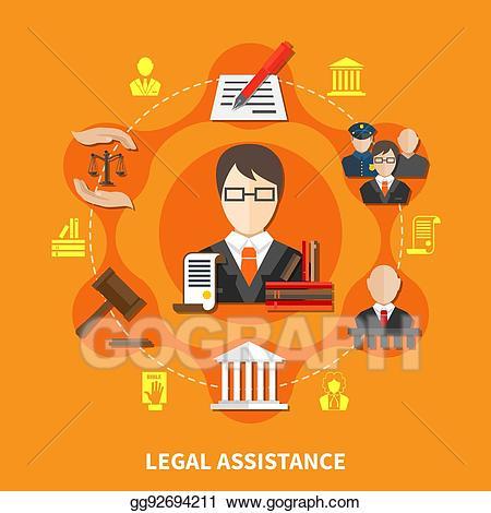 Law clipart legal team. Vector orange composition illustration