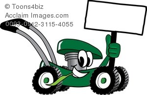 Cartoon mower holding a. Lawnmower clipart