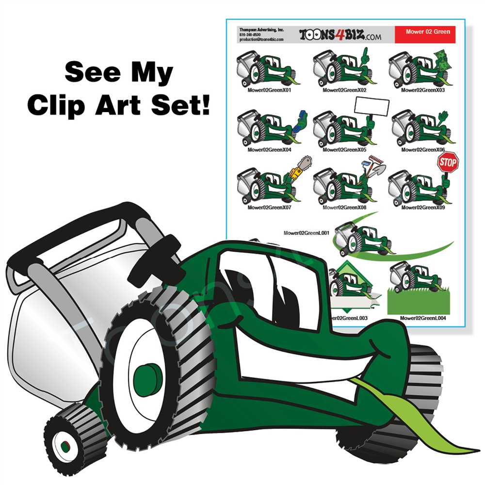 Lawnmower clipart. Green lawn mower clip