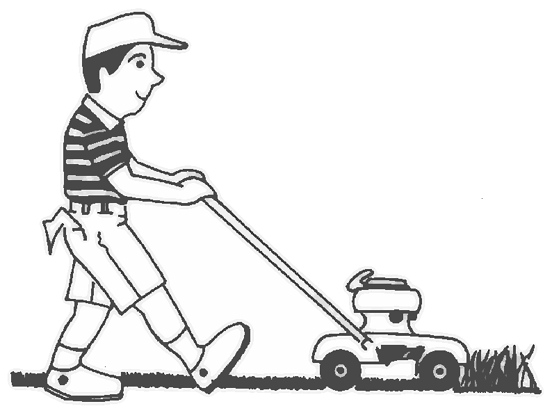 Boy people children png. Lawnmower clipart black and white