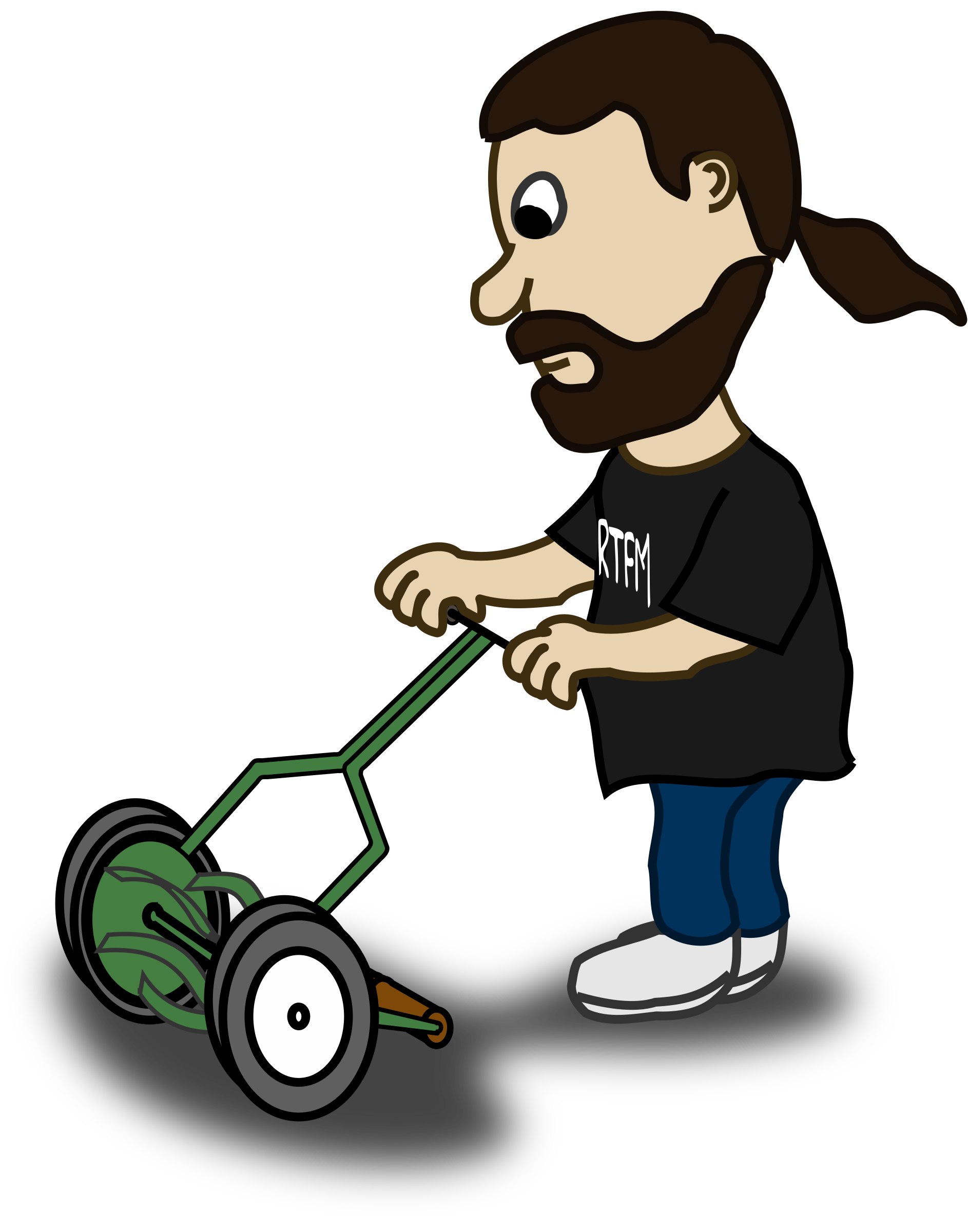 Comic characters guy pushing. Mowing clipart ride on