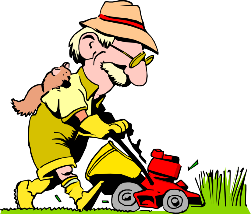 Mowing the lawn with. Working clipart yard work