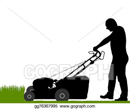Vector stock with lawn. Mowing clipart lawnmower man