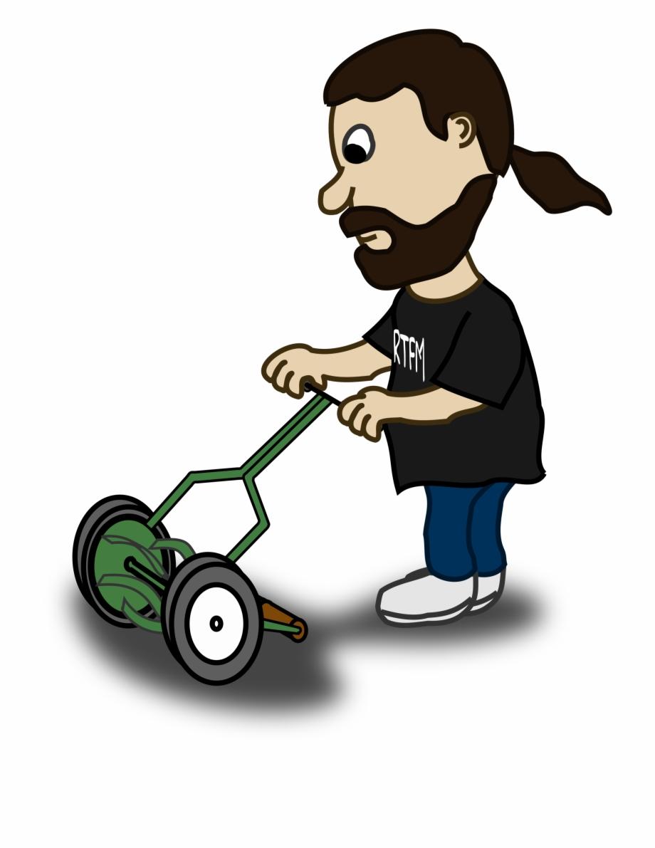 Mowing clipart lawnmower man. Lawn mower guy cartoon