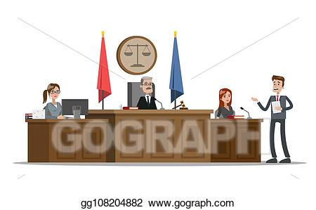 Vector stock building interior. Lawyer clipart court witness