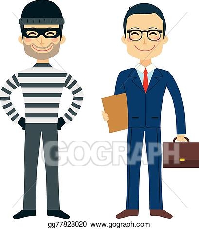 Lawyer clipart lawyer man. Vector art thief and