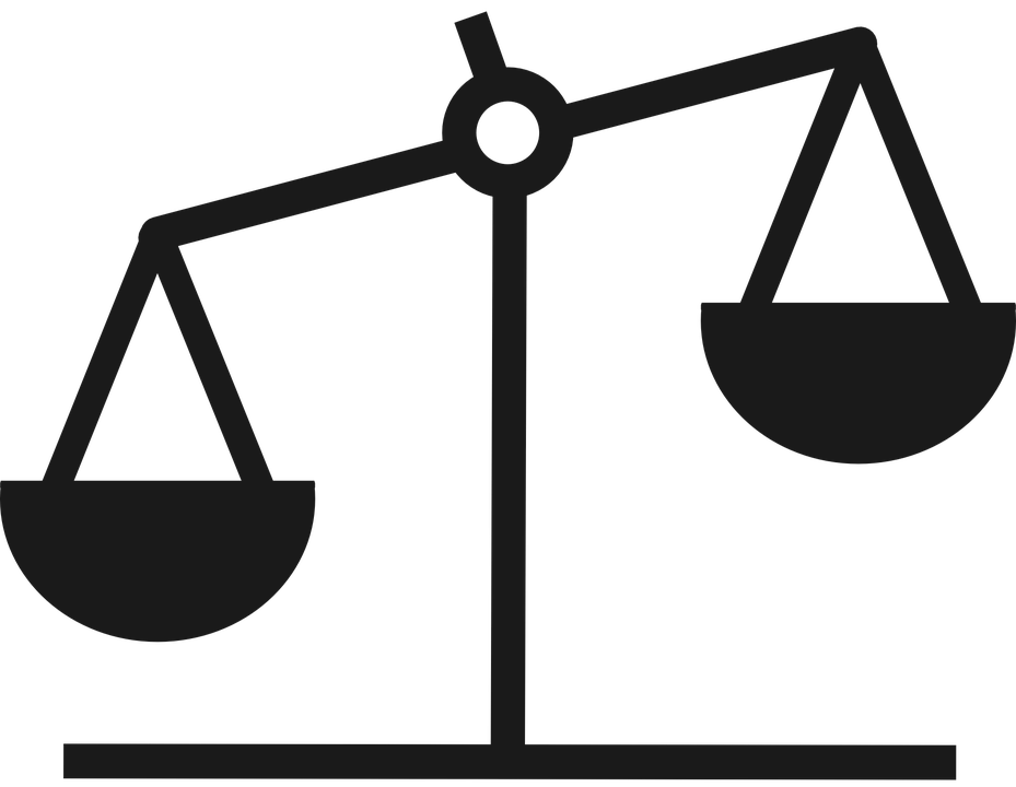 People balanced on a. Lawyer clipart scale