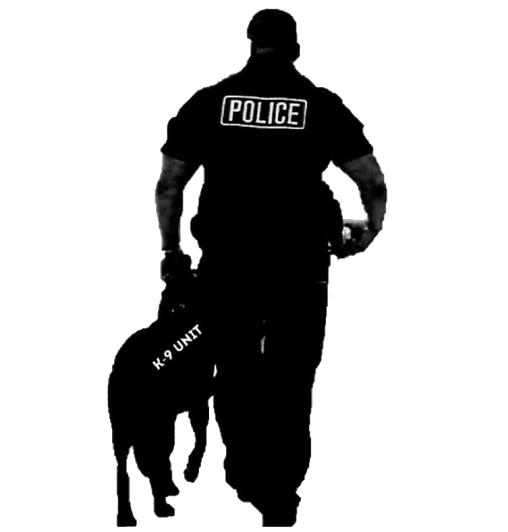 Policeman clipart k9 dog. Law enforcement silhouette at