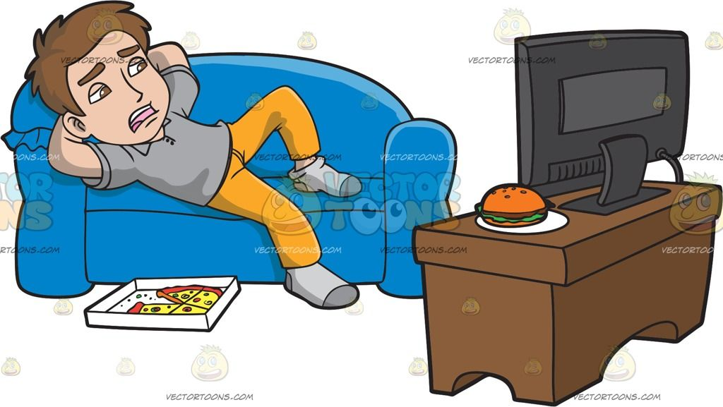 Lazy clipart couch tv. A man watching after